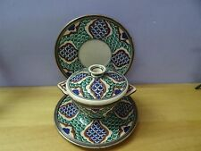 Antique Iznik ? Turkish ? Ottoman ? Pottery Plate Bowl + cover dish silver rim