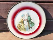 "Antique Victorian Flue Chimney Cover w Man & Woman Glitter Round 11"""