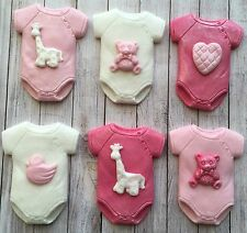 6 pink & white baby girl vests,christening edible cupcake toppers baby shower