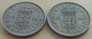 Pair of 1954 GB shilling coins English & Scottish versions