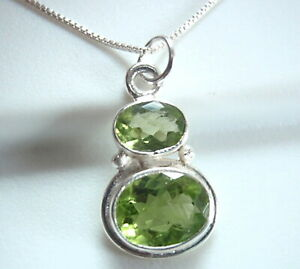 Faceted Peridot Double Gem 925 Sterling Silver Pendant