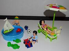 PLAYMOBIL  LE SALON DE JARDIN - PARASOL - BASSIN - ENFANTS - JOUETS