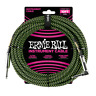 ERNIE BALL 10' BLACK / GREEN BRAIDED CABLE w/ ANGLED END GUITAR BASS INSTRUMENT