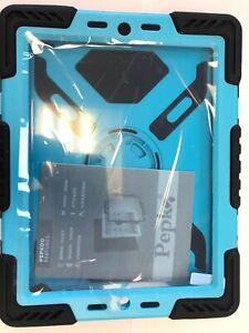 Pepko iPad 2/3/4 Rugged Silicone Kickstand/Holder/Case Shockproof BLUE and Black