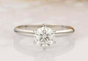 Solid 925 Sterling Silver Simulated Diamond Wedding Engagement Prong Style Ring