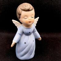 Vintage Christmas Angel Kissing Ceramic Figurine Boy Blue Robe Closed Eyes Sweet