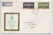 1967 ZAMBIA Registered First Day Cover NATIONAL ASSEMBLY BUILDING INAUGURATION