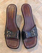 Donald J Pliner Womens Leather Slip On Sandal Heel Black/ Brown Size 8 M