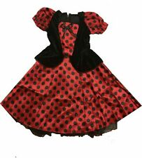 Girls ladybug ladybird fancy dress costume black red, age 6 7 8  NEW