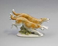 Porcelain Figurine Greyhounds Borsoi Wagner & Apel 7 7/8x4 11/16in 9942660