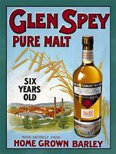 Glen Spey, Pure Malt Scotch Whisky, Pub, Bar & Restaurants, Large Metal/Tin Sign