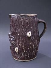 Primitive 19th C Rustic Stump or Log Pitcher, Brown Salt Glaze, Folk Art Pottery
