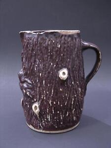 Primitive 19th C Rustic Stump or Log Pitcher, Brown Salt Glaze, Folk Art Pottery