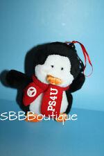 """Aeropostale PENGUIN 5"""" Peace Sign Aero Plush Red Scarf PS4U New Stuffed Ornament"""