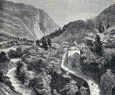 Antique woodcut print: Luz-Saint-Sauveur Hautes Pyrenees France gravure 1874