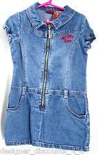 U.S. POLO DENIM blue jean DRESS GIRLS short sleeve full zip mini skirt Size 4T