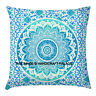Indian Boho Mandala Scatter Cushion Covers Green Ombre Pillow Cover Large Sham