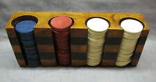 Vintage Wood Caddy Poker Chip Set-Red, White, Blue Chips