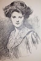 GIBSON GIRL 1909 COLLIER'S MAGAZINE ARTISTS' PROOF No. 3 The Day Dream