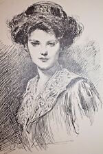 GIBSON GIRL 1909 COLLIER'S MAGAZINE ARTISTS' PROOF No. 3 The Day Dream 11X16