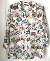 CHICO'S Women's 3 Butterfly Stamps Print Shirt Wrinkle Resistant 100% Linen Top