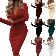Women's Deep V-Neck Long Sleeves Cocktail Party Ruched Bodycon Midi Dress