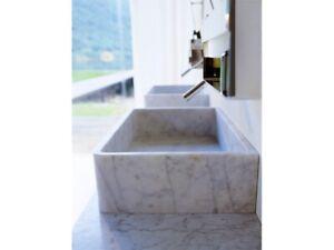 Agape Carrara ACER0730P countertop washbasin in white Carrara marble