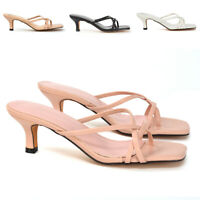 New Womens Strappy Kitten Heel Sandals Ladies Square Toe Slip On Mule Shoes Size