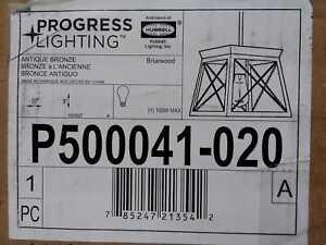 Progress Lighting Briarwood 10 in. 1-Light Antique Bronze Pendant