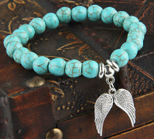 UK Silver Guardian Angel Wings Turquoise Crystal Gemstone Bead Bracelet