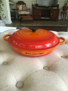 LE CREUSET CAST IRON ROUND BRAISER 2.25 QT Orange Flame #26