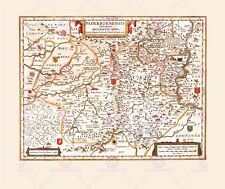 Map Antique 1645 Blaeu Paderborn Episcopacy Large Replica Canvas Art Print