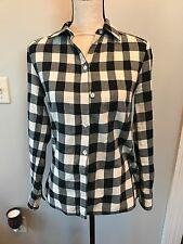 Loomstate Button Up Shirt Womens XS Black White Buffalo Plaid Organic Cotton Hem