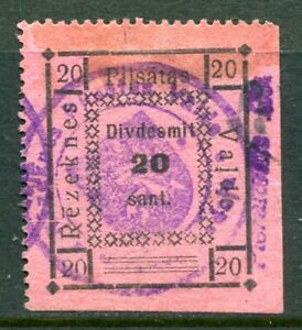 x518 - LATVIA Rezekne 1920s Revenue Stamp. 20 sant. Pink Paper. 4 Bars at Bottom