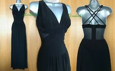 Karen Millen UK 12 Black Jersey V Neck Crossed Back Maxi Long Cocktail Dress 40