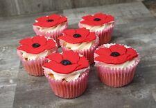 Set of Six Poppy Cupcake Toppers  Edible Sugarpaste