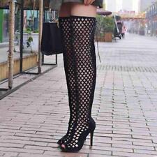Sz 35-46 Roman Womens Sexy Hollow Stiletto Heels Knee High Boots Sandals Shoes
