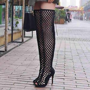 Sz 35-46 Roman Womens Sexy Hollow Stiletto Heels Knee High Boots Sandals Shoes