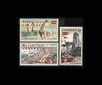 Cameroun, Sc #C38-40, MNH, 1961, Ovpt', Port Douala, Giraffes, Rhumusiki, FX-B