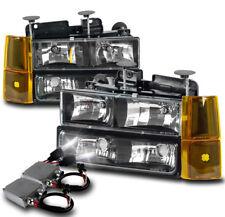 94-98 GMC C/K 1500 SUBURBAN HEADLIGHTS LAMP W/BUMPER+CORNER+50W 8K HID KIT BLACK
