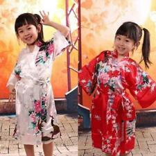 New Children peacock gown satin kimono bathrobes flower girl bride's silk robe3