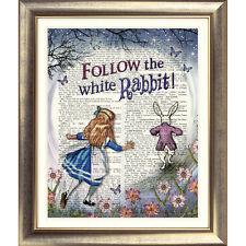 ART PRINT ORIGINALE ANTICO LIBRO pagina Vintage Alice nel Paese delle Meraviglie Coniglio Bianco