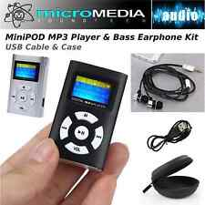 AudioBLUE-MiniPOD MP3 Player-Card Reader-Bass Headphones-USB-Stereo Case-Bundle