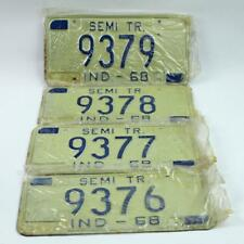 (10) Consecutive 1968 Indiana Semi Tr. License Plate - Unused, Original