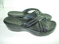 WOMENS BLACK PATENT LEATHER CREPE COLE HAAN SLIDES Sandals HEELS SHOES SIZE 9 M