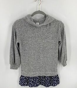 Gap Girls Sweater Size Small (6-7) Gray Blue Heart Print Hooded Faux Layered