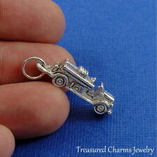 Silver Fire Engine Charm - Fire Truck Firefighter Emergency Vehicle Pendant NEW