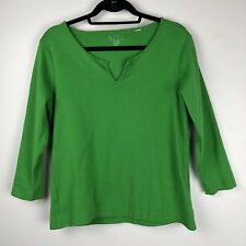 Chico's 2 Large Shirt Top Cotton Green Split V Neck 3/4 Sleeve Tee Stretch