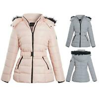Womens Pink Grey Contrast Zip Belt Quilted Padded Long Winter Coat Size