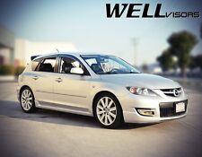 WellVisors For 04-09 Mazda 3 Hatchback Clip On Smoke Tinted Side Window Visors